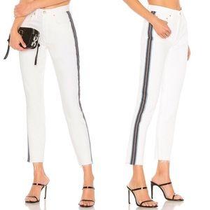 GRLFRND // Karolina Crop Skinny Jeans Striped